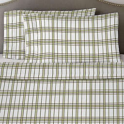 Pointehaven Plaid 170 GSM Flannel Twin XL Sheet Set in Sage/White