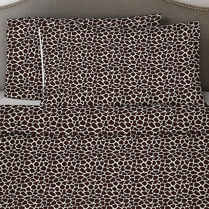 Alternate image 1 for Pointehaven Giraffe 170 GSM Flannel Twin XL Sheet Set in Chocolate