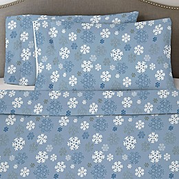 Pointehaven 170 GSM Snowflakes Flannel Twin Sheet Set in Blue