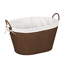 Household Essentials® Paper Rope Wicker Laundry Hamper Basket in Brown