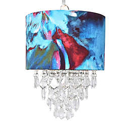 River of Goods Tiered Crystal Ceiling-Mount Pendant with Abstract Watercolor Shade