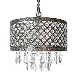 River of Goods 1-Light Crystal Lattice Chandelier in Silver