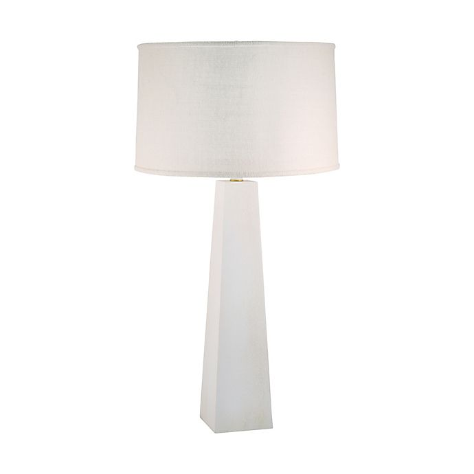 Alternate image 1 for Elk Lighting Grand Pyramid Table Lamp in White Wash with White Fabric Shade