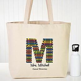 Crayon Letter Teacher Canvas Tote Bag