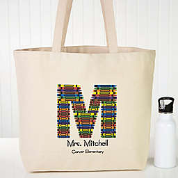 Crayon Letter Teacher Canvas Tote Bag