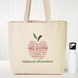 Apple Scroll Teacher Canvas Tote Bag