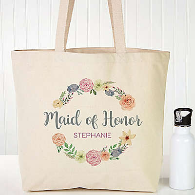 Floral Wreath Bridal Canvas Tote Bag