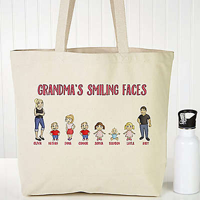 Grandchildren Character Canvas Tote Bag