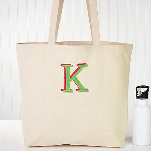 Alternate image 1 for Choose Your Colors Embroidered Ladies Canvas Beach Tote Bag