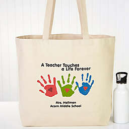 Touches a Life Teacher Canvas Beach Tote Bag