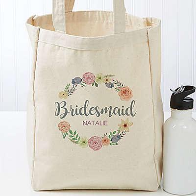 Floral Wreath Petite Bridal Canvas Tote Bags