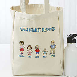 Grandchildren Character Petite Canvas Tote Bag