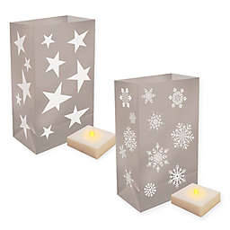 Lumabase 6-Piece Luminaria Kit with Timer in Silver