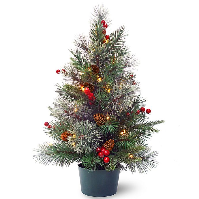 National Tree Company® 2-Foot Pre-Lit LED Colonial Potted Plant Artificial Christmas Tree | Bed ...
