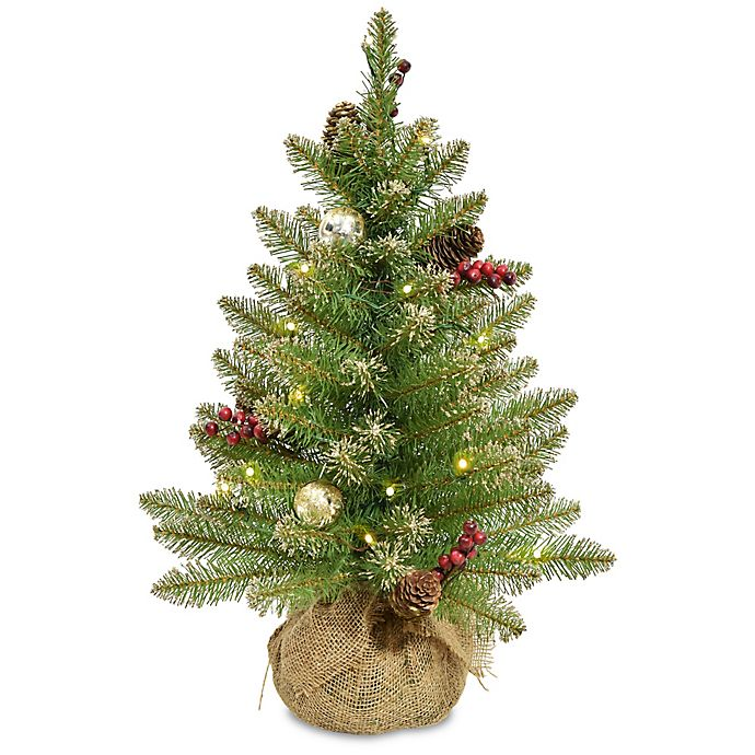 Dunhill Fir Christmas Tree.National Tree Company 2 Foot Pre Lit Led Glittery Gold