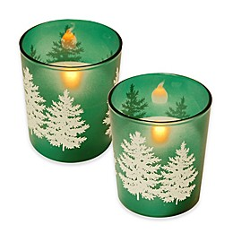 Battery Operated Wax Candles Filled in Green Pine Glass with Timer (Set of 2)
