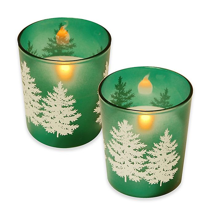 Alternate image 1 for Battery Operated Wax Candles Filled in Green Pine Glass with Timer (Set of 2)