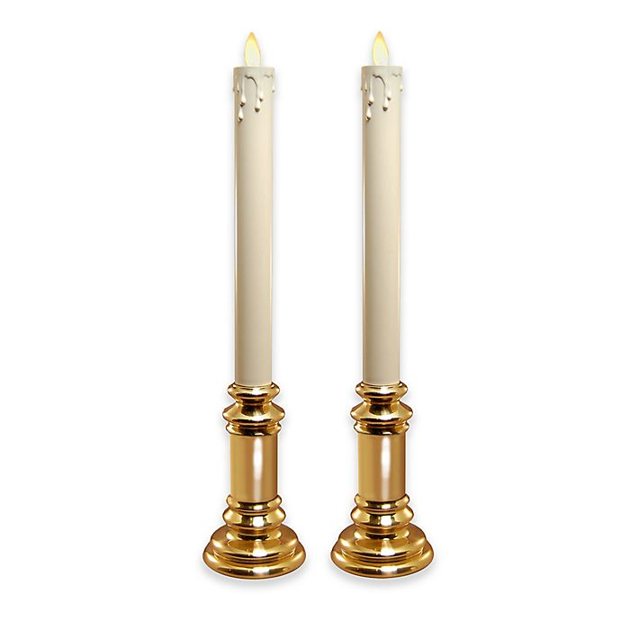 Alternate image 1 for Moving Flame Battery Operated Cream Taper Candles in Gold Holders (Set of 2)