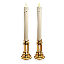 Moving Flame Battery Operated Cream Taper Candles in Gold Holders (Set of 2)