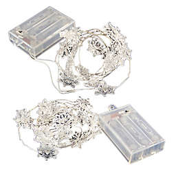 LumaBase® 40ct Snowflake Battery-Operated LED Mini String Lights in White (Set of 2)