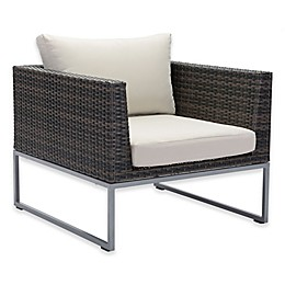 zuo® Malibu All Weather Arm Chair in Brown/Beige