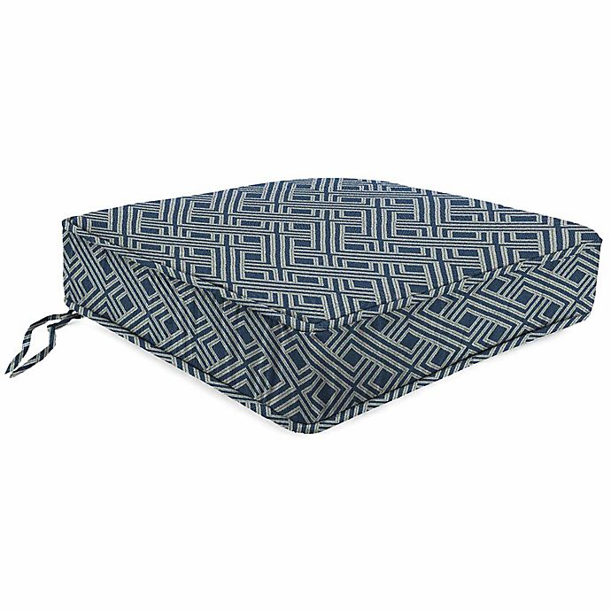Alternate image 1 for Print Tapered Boxed Chair Cushion in Sunbrella® Integrated Indigo