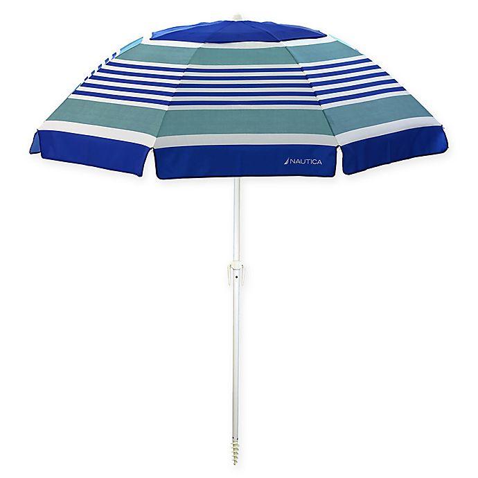 Alternate image 1 for Nautica® 7-Foot Beach Umbrella in Coastal Stripe