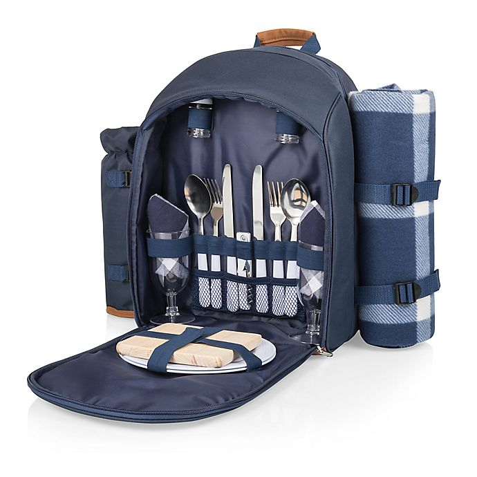 Alternate image 1 for Picnic Time® 19-Piece Insulated Picnic Backpack for 2 in Navy/Brown
