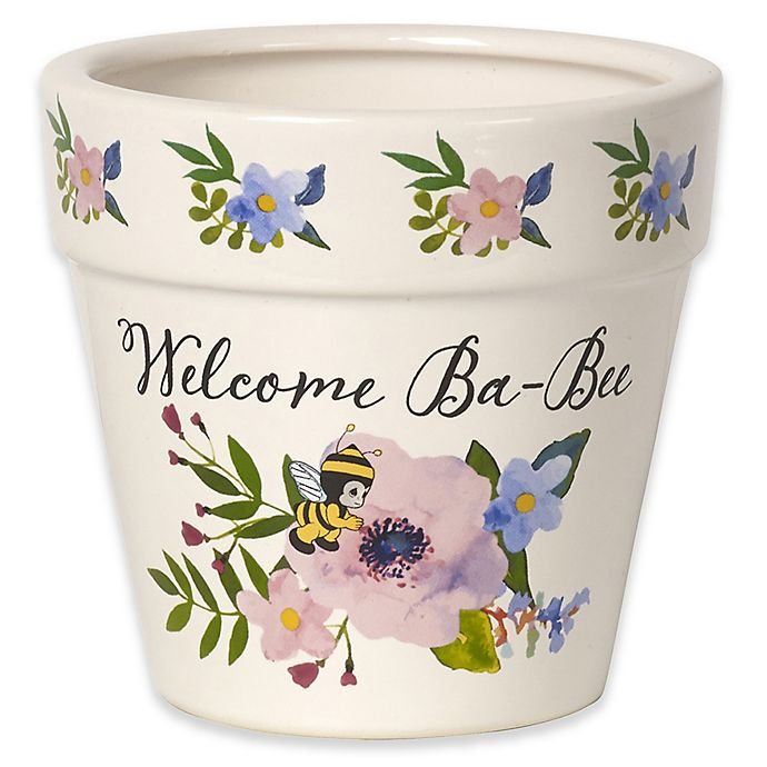 Alternate image 1 for Precious Moments® Welcome Ba-Bee Ceramic Indoor/Outdoor Flower Pot in White