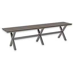 Zuo® Modern Bodega All-Weather Aluminum and Polywood® Bench in Brown/Grey