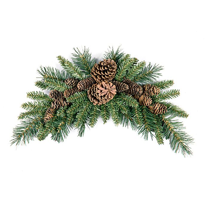 Christmas Swag.National Tree Company 36 Inch Wintry Pine Cone Crescent Christmas Swag