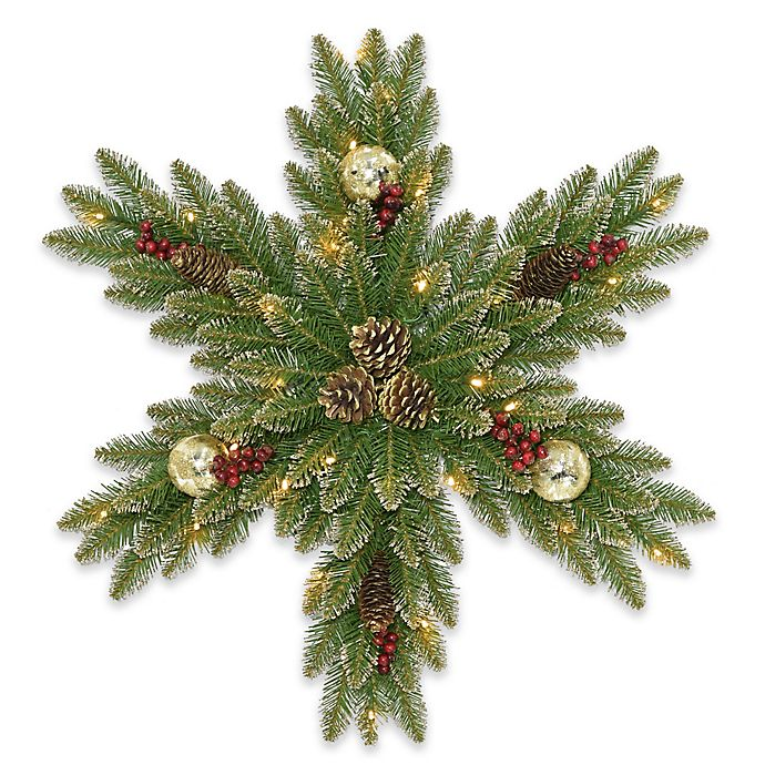 Alternate image 1 for National Tree Company® 32-Inch Pre-Lit LED Glittery Gold Dunhill Fir Snowflake Wreath