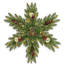 National Tree Company® 32-Inch Pre-Lit LED Glittery Gold Dunhill Fir Snowflake Wreath