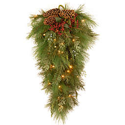 National Tree Company® 28-Inch Pre-Lit LED White Pine Teardrop Swag