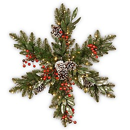 National Tree Company® 32-Inch Pre-Lit LED Frosted Pine Berry Snowflake Wreath