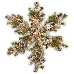 National Tree Company® 32-Inch Pre-Lit LED Snow-Capped Mountain Snowflake Wreath