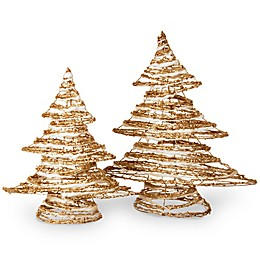 National Tree Company 2-Piece Rattan Christmas Tree Set