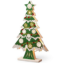 National Tree Company 17-Inch Pre-Lit Wooden Christmas Tree