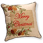 National Tree Company®  Merry Christmas  Pinecone Embroidered Throw Pillow