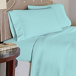 Pointehaven® 175 GSM Solid Flannel Twin XL Sheet Set in Aqua