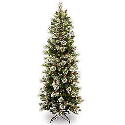 National Tree Company 6-1/2-Foot Pre-Lit Wintry Slim Pine Artificial Christmas Tree