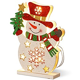 National Tree Company 12-Inch Pre-Lit Wooden Snowman Christmas Decoration