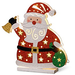 National Tree Company 12-Inch Pre-Lit Wooden Santa Christmas Decoration