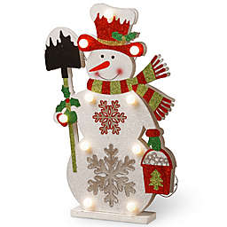 National Tree Company 17-Inch Pre-Lit Wooden Snowman Christmas Decoration