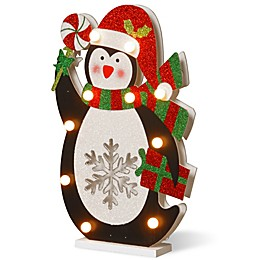 National Tree Company 17-Inch Pre-Lit Wooden Penguin Christmas Decoration