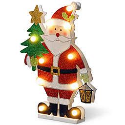 National Tree Company 17-Inch Pre-Lit Wooden Santa Christmas Decoration