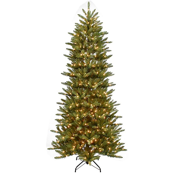Alternate image 1 for Puleo International 7.5-Foot Slim Fraser Pre-Lit Artificial Christmas Tree with Clear Lights