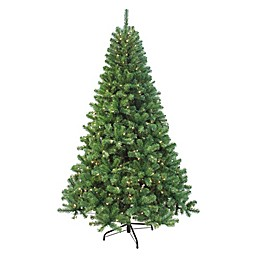 Puleo International 7.5-Foot Stonehill Pine Pre-Lit Artificial Christmas Tree with Clear Lights