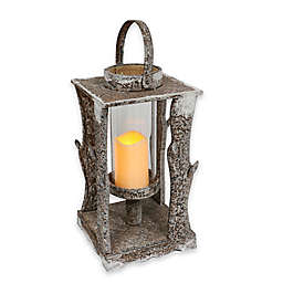 Puleo International 19.5-Inch Square Wooden LED Lantern