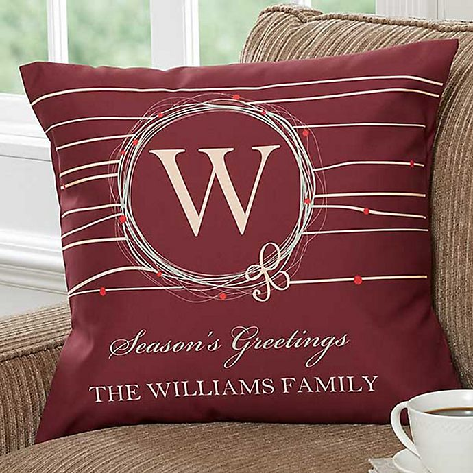 Alternate image 1 for Holiday Wreath 18-Inch Personalized Square Throw Pillow